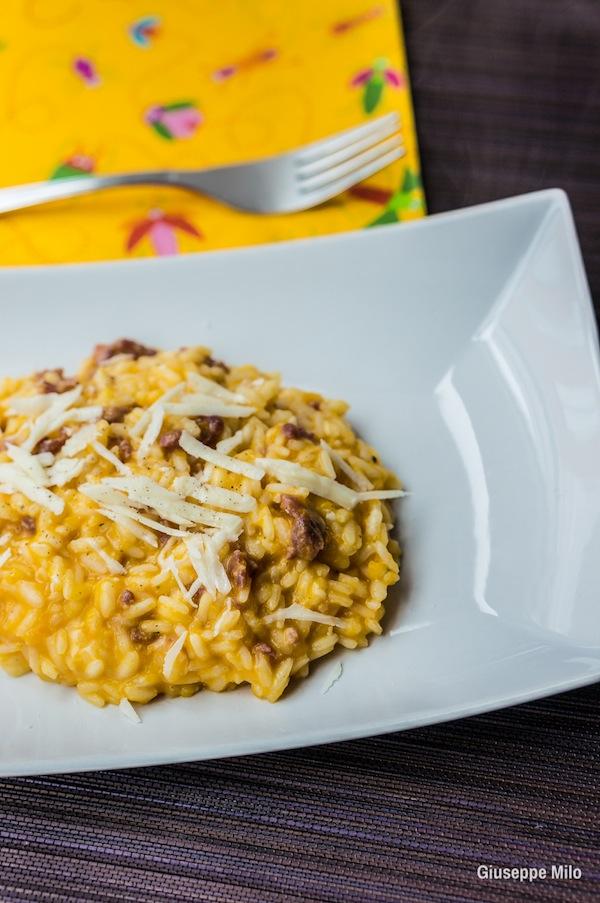 risotto zucca salsiccia ricetta