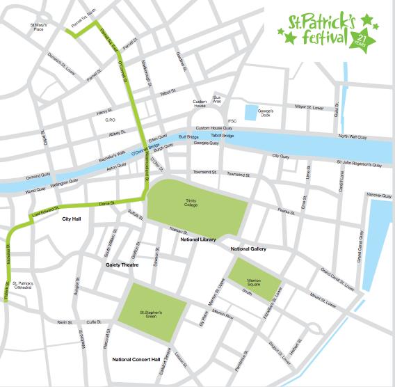 Mappa Parata San Patrizio Dublino