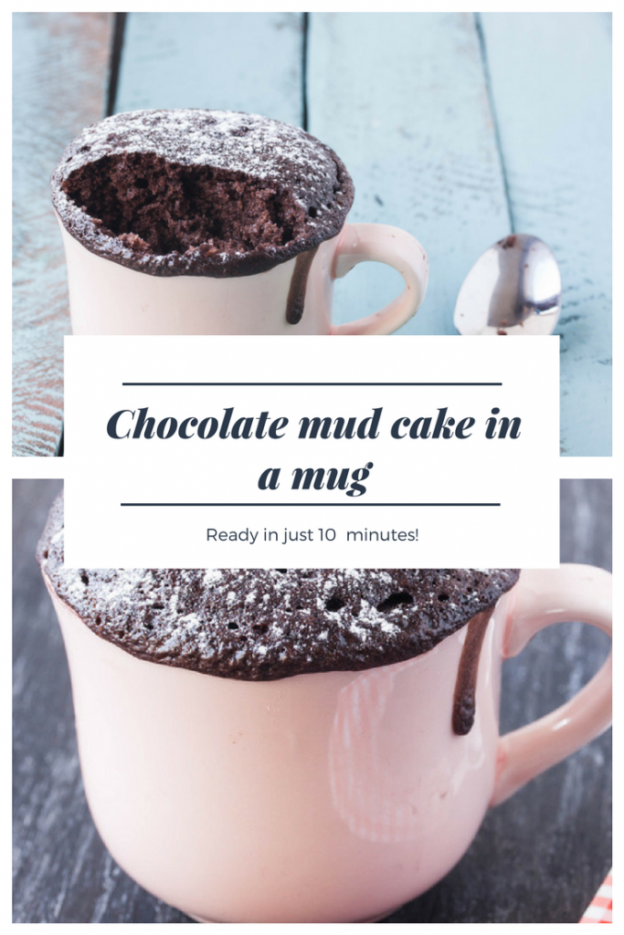 chocolate mud cake in a mug