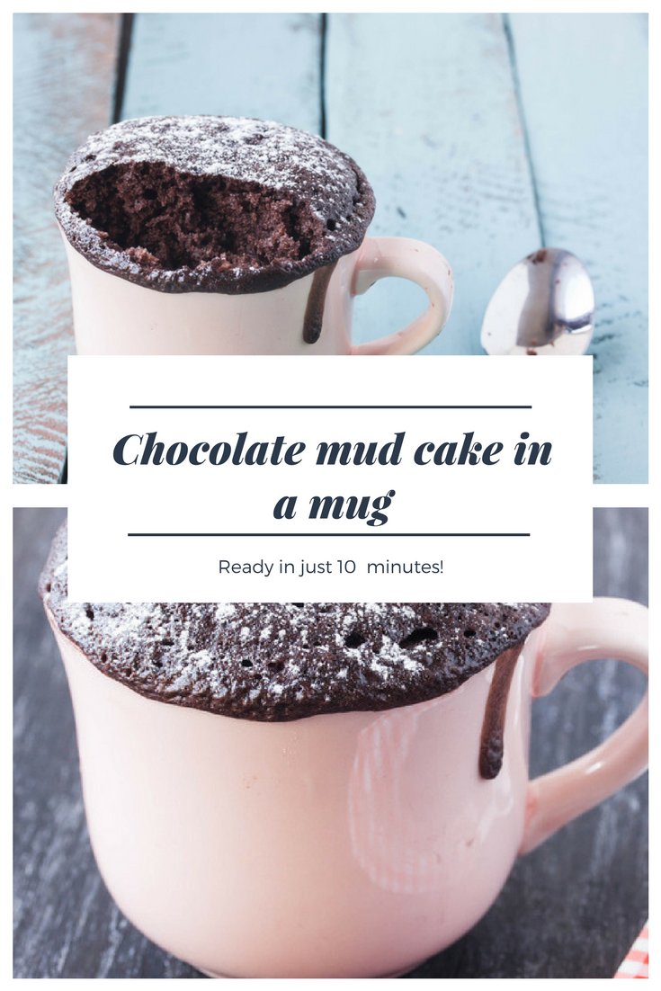 Chocolate mud cake in a mug recipe baked in the oven or ...