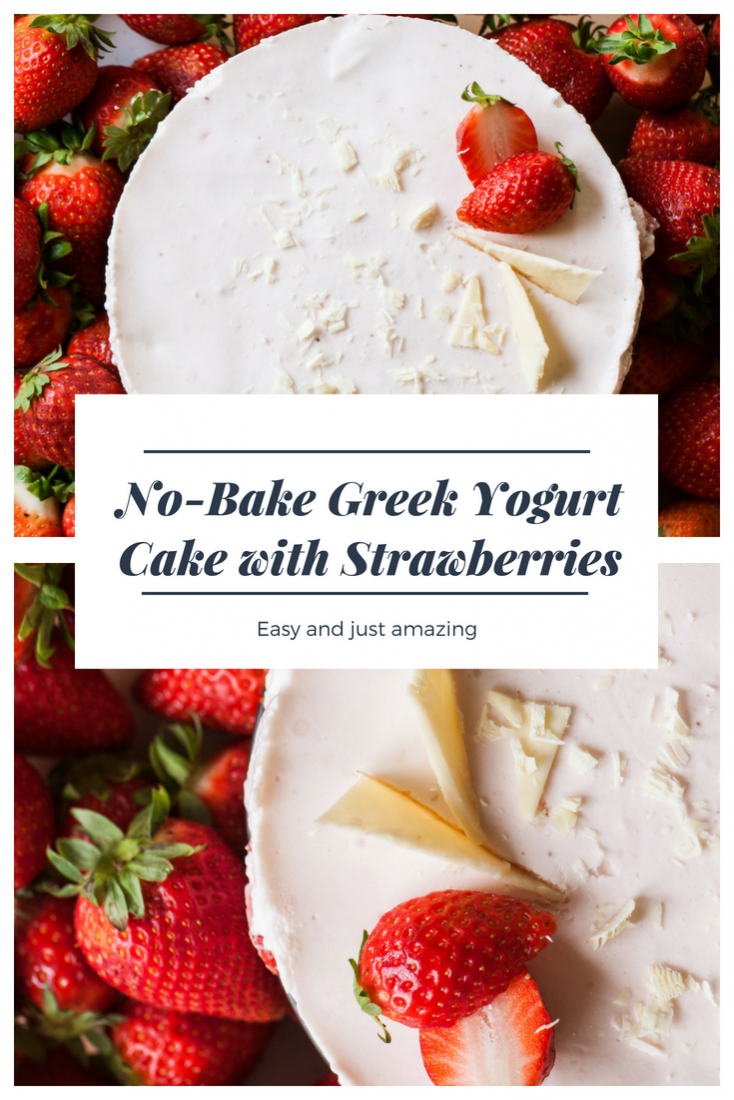 No-Bake Greek Yogurt Cake Recipe with Strawberries and without Gelatin